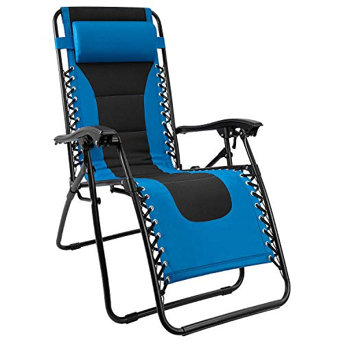 Homall Zero Gravity Chair Patio Padded Recliner Outdoor Oversized Portable Lounge Chair Adjustable Lawn Folding Chair with Headrest (Blue)