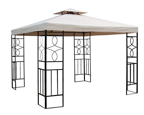 habeig WASSERDICHTER Pavillon Romantika 3x3m Metall inkl. Dach Festzelt wasserfest Partyzelt (Beige)