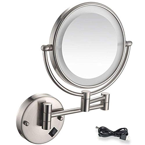 Bright Vanity Mirror Bathroom Vanity MirrorWall Mount LED Lighted Makeup Mirror 5X Magnifying USB Rechargeable Cosmetic Mirror 360° Swivel Extendable Two Sided Vanity Mirror for Bathroom*Product C