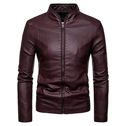 Mr.BaoLong&Miss.GO Autumn New Men Large Size Leather Jacket Men Slim Standing Collar Pu Leather Jacket Jacket Red Wine