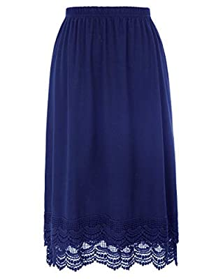 Lace Tops Extender for SweaterUnderskirts(L, Navy Blue)