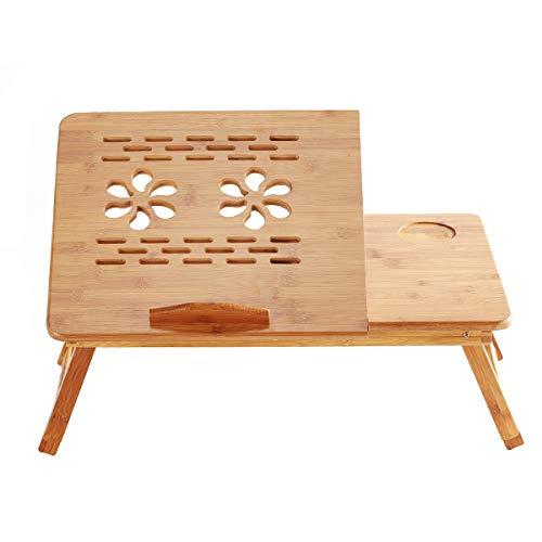 Aibecy Mesa escritorio, escritorio plegable, Soporte de escritorio plegable para computadora portátil de bambú, altura ajustable con 4 ángulos Cajón superior inclinable para leer Escribir trab