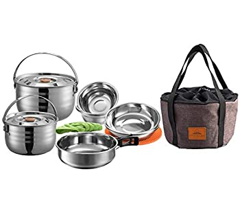 CAMPINGMOON 13PCS Stainless Steel Outdoor Camping Nesting Mess Kit Cookware Set Pots Pans with Storage Carrying Bag MC210
