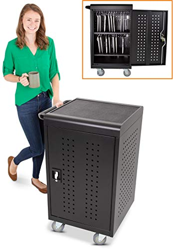 Line Leader 30 Unit Compact Mobile Charging & Storage Cart | Locking Cabinet Holds 30 Tablets, Laptops or Chromebooks | Mobile Lab w/Two 15-Outlet Power Strips | Great for School, Classroom & Library
