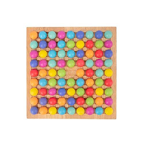 Minimei Holz Clip Beads Brettspiel Clip Perlen Spiel Puzzle Board Montessori Pädagogisches Holzspielzeug Wooden Clip Beads Rainbow Toy Holzclip Perlen Spielzeug Puzzle Brettspiel decent
