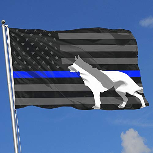 JQDAPaflag K9 Police Dog Thin Blue Line Flag Breeze Flag 3 X 5-100% Polyester Single Layer Translucent Flags 90 X 150CM - Banner 3' X 5' Ft