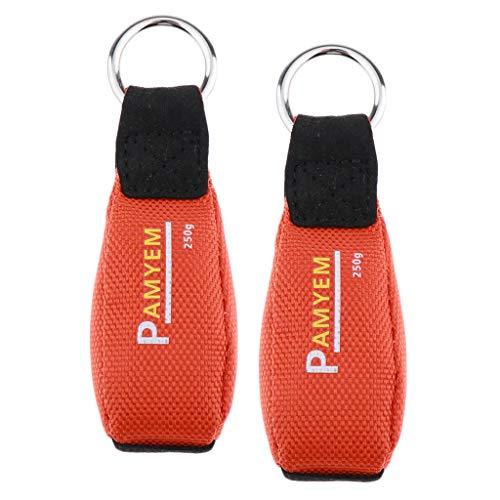 Perfeclan 2 x Tragbar Baumpflege Wurfsack Wurfbeutel Wurfgewicht mit Edelstahlring Baumklettern Ausrüstung, Orange