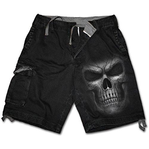 Sombra Maestro, gótico fantasía del cráneo del metal de la vendimia pantalones cortos de carga cortos Negro - XXL - Espiral
