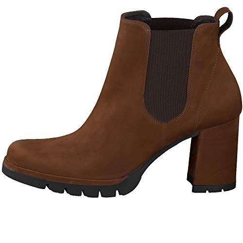 Paul Green Damen Chelsea-Stiefelette, Frauen Chelsea Boots, Woman Freizeit leger Stiefel halbstiefel Bootie Schlupfstiefel hoch,Braun,6.5 UK / 40 EU