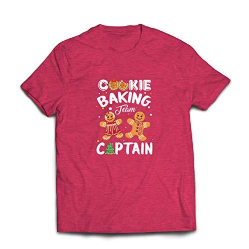 lepni.me Männer T-Shirt Weihnachten Cookie Backteam Familienurlaub Kapitän (Large Heidekraut Rot Mehrfarben)