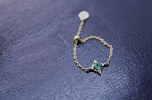 YOYOYAYA Ring Weiblichen Schmuck S 925 Silber Zeichnen Kette Einstellbar Girl Datum Exquisite Vorschlag Geschenk, Grün