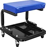 TCE ATR6300U Torin Rolling Creeper Garage/Shop Seat: Padded Mechanic Stool with Tool Tray Storage, Blue
