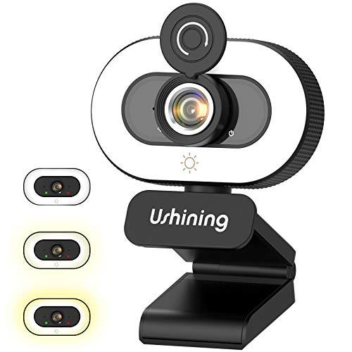 Webcam 1080P Full HD con Microfono e Luce, Webcam per PC,Fotocamera Usb con 3 Luminosità,Grandangolo di 90°Panoramica di 360° per Laptop, Mac, Videochiamate, Studio, Conferenza,Gioca a Giochi