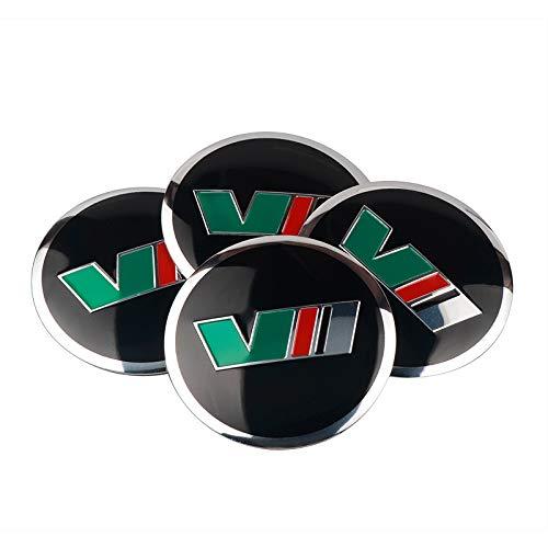 Tapas centrales para llantas Estilismo de automóviles Compatible con VII VRS Logo 4pcs Coche Wheels Center Hub Cap Pegatinas Compatible con Skoda Octavia 1 2 3 A5 7 RS Accesorio Ornamental para Tapacu