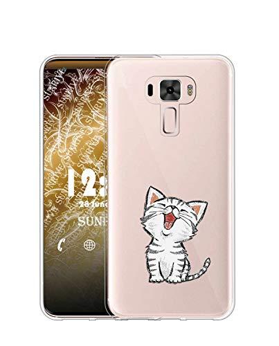 Sunrive Kompatibel mit Asus Zenfone 3 ZE520KL Hülle Silikon, Transparent Handyhülle Schutzhülle Etui Hülle (TPU Katze 2)+Gratis Universal Eingabestift MEHRWEG