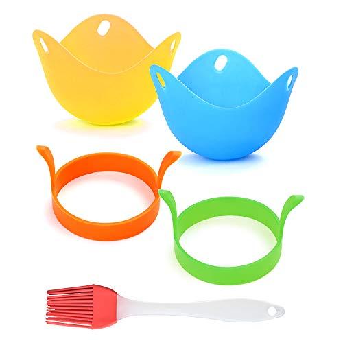 Skystuff Set di stampi per uova fritte, strumenti fai da te per friggere uova, utensili da cucina (con 2 anelli per uovo, 2 tazze per uova in camicia e 1 pennello in silicone)
