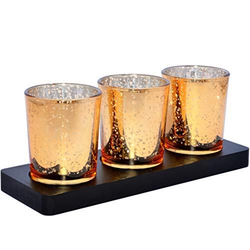 Glas-Teelichthalter Set (Gold/Silber) mit Tablett | Moderne Teelichtgläser als Geschenk zu Ostern, Windlicht, Wohnzimmer-Deko | Kerzenhalter für Esstisch, Bad, Garten | Frühlingsdeko Kerzenständer