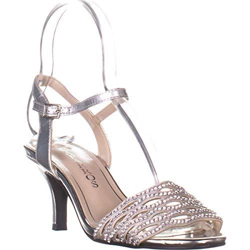 Caparros Womens Quirin Suede Open Toe Special Silver Metallic
