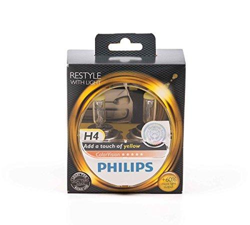 Philips Scheinwerferlampe-H4 ColorVision für farbigen Glanz im Scheinwerfer, P43t-38, 12V/55W, lieferbar in verschiedenen Farben (Gelb)
