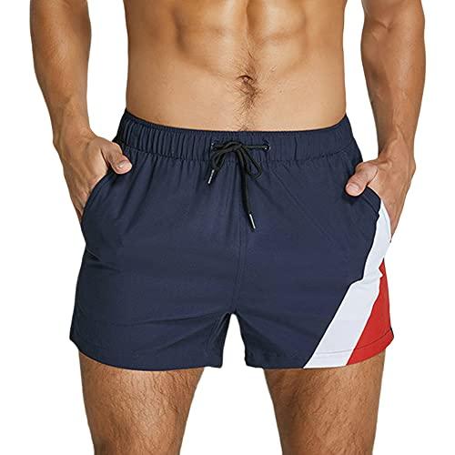 Men's Workout Bodybuilding Short Shorts Gym 3 inch Training Running Shorts with Pocket Navy Blue M