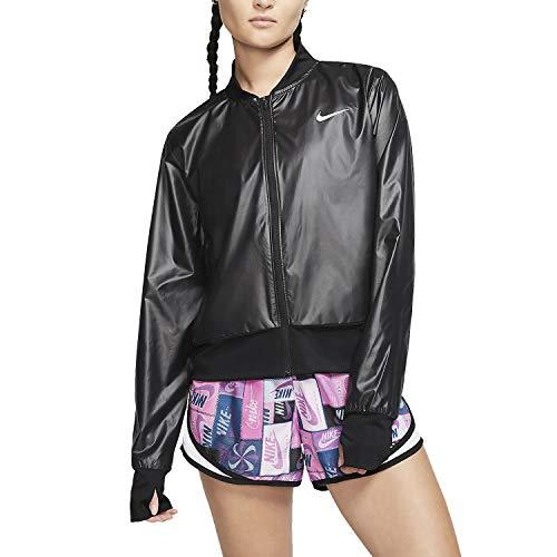 Nike Damen Swoosh Run Jacke Hoodie, Black/Reflective Silv, XL