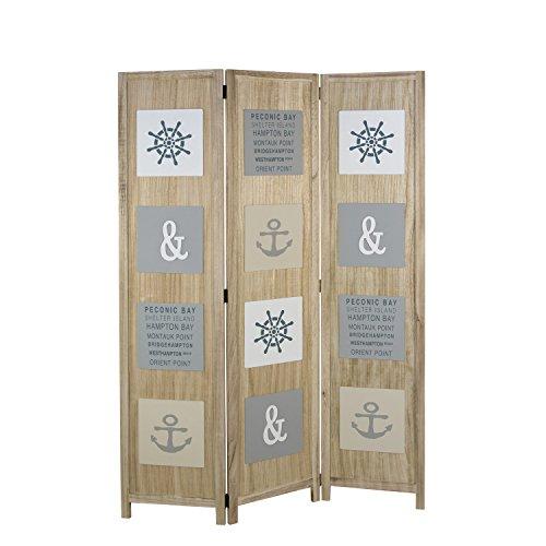 Homestyle4u 1820, Paravent Raumteiler 3 teilig, Design Maritim, Holz Natur