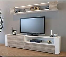 أريا - طاولة عصرية بتصميم مبتكر وجذاب، لغرفة المعيشة، اللون (خشبي وأبيض)