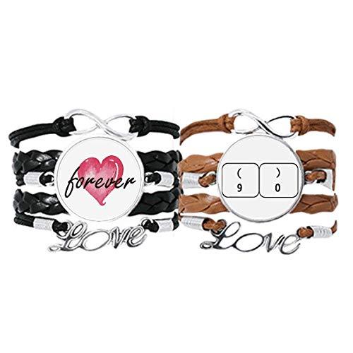 Bestchong Teclado Símbolo 9 0 Art Deco regalo pulsera de moda correa de mano cuerda de cuero Forever Love Wristband conjunto doble