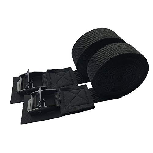 LIOOBO 2PCS Tensioning Belts Strap Car Roof Rack Tie Down Straps Luggage Cargo Kayak Surf Board Bind Belt Black