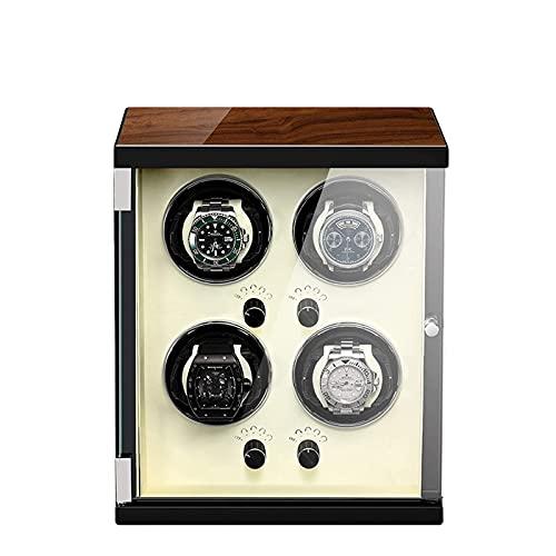 Enrollador de reloj para 4 relojes automáticos Carcasa de madera Acabado de piano Motor extremadamente silencioso con 5 modos de rotación Caja de exhibición de almohadas de reloj tridimensionales (Col