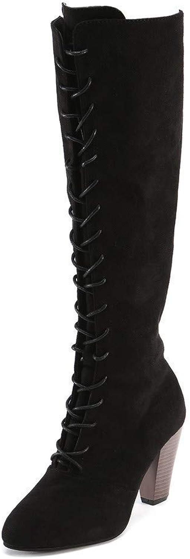 Stiefel Damen Schuhe Stiefeletten Mode Frauen Straps Straps Straps Slim Zip Hohe Stiefel Overknee Stiefel High Heels Martin Schuhe (Farbe   Schwarz, Größe   40 EU)  a116f0