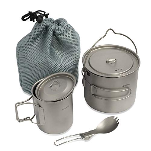 HOMFUL Camping Cookware Titanium Cooking Set,1100ML 420ML Camping Pots Cup...