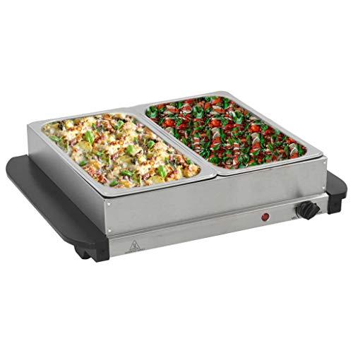 FAMIROSA Calientaplatos para bufé de Acero Inoxidable 200 W 2x2,5 L-3,45KG