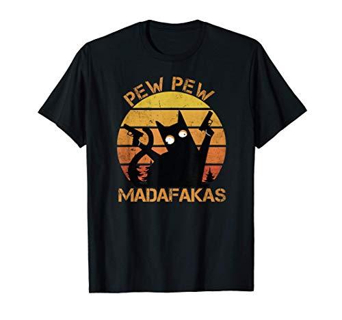 Cat Pew Pew Madafakas Vintage Crazy Cat lustige Katze T-Shirt