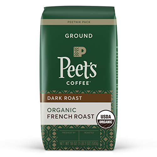Peet's Coffee Organic French Roast Blend, Ground Coffee, French Roast, 18 Ounce