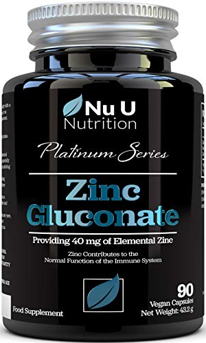 Zinc Gluconate 40mg - Vegan High Strength Zinc Supplement - Providing 40mg of Elemental Zinc - 90 Zinc Capsules, 3 Month Supply - Immune System Support - Allergen Free & Non GMO - Made in The UK