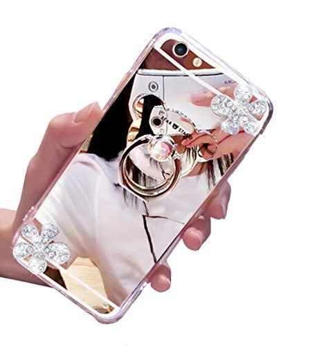 Homikon Silicone Specchio Custodia Brillantini Glitter Diamante Fiore Cover Morbida Soft TPU Gomma Gel Orso 360 Gradi Rotazione Ring Case Bumper Compatibile con Samsung Galaxy S7 Edge - Argento