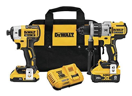 DEWALT 20V MAX XR Cordless Drill Combo Kit, Hammer Drill & Impact Driver, Power Detect Technology (DCK299D1W1)