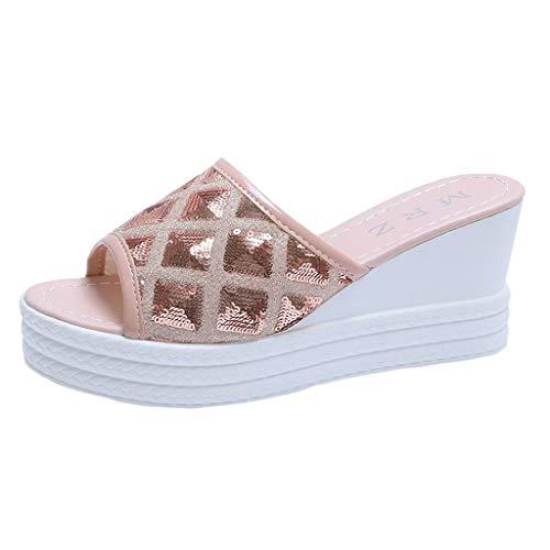 New kaifongfu Womens Wedge Sandals Platform High Heel Slides Sandals Sequin Slippers Footwear(Pink,3...