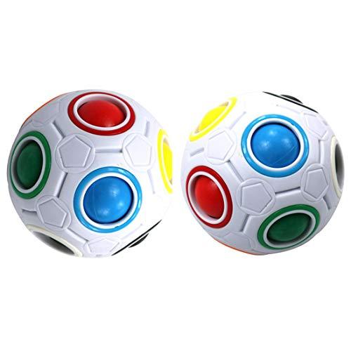 FCBB 2Pack Fidget Ball Magic Rainbow Ball Spherical Cube Brain Teasers Inteligencia Juguetes Fidget Toys (Blanco)