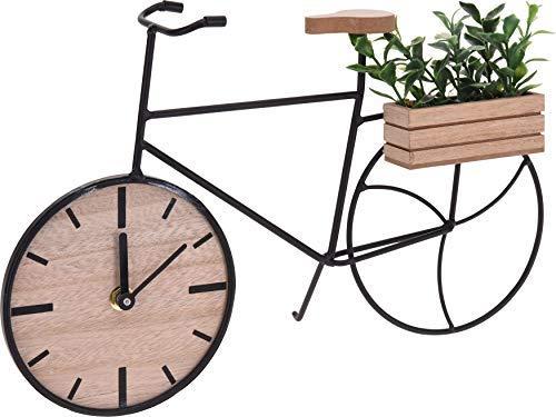 Spetebo Fahrrad Tischuhr mit Pflanze - 34x22x8 cm - Deko Metall Uhr Kaminuhr Standuhr