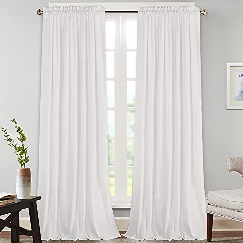 """Natural Rich Linen Curtains Semi Sheer for Bedroom/Living Room/Dining   Rod Pocket Textured Flax Window Curtain Drapes Privacy Added Light Reducing Soft Curtains 2 Panels (White, 52"""" W x 108"""" L)"""