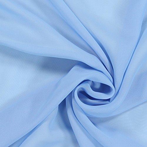Fabulous Fabrics Chiffon babyblau, Uni, 140cm breit – Chiffon zum Nähen von Blusen, Tuniken und Röcken – Meterware erhältlich ab 0,5 m