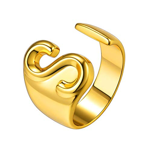 Suplight 18K Gold Plated Initial Ring, Thumb Ring Thick, Open Ring Jewelry, Momongram Rings, Adjustable Alphabet Letter Ring R, Wide Cuff Ring Cocktail Statement Rings for Women Grils