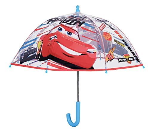 Cars - Ombrello da Bambino, 42 cm, Apertura Manuale, Forma a Cupola, in Poe, per Campeggio ed Escursionismo, Multicolore, Taglia Unica