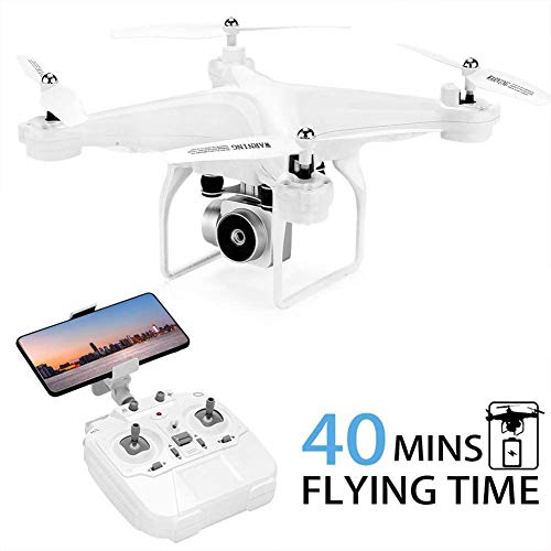 40Mins Flight Time Drone, H68 RC Drone with 720P HD Camera Live Video FPV Quadcopter with Headless Mode, Altitude Hold Helicopter with 2 Batteries(20Mins + 20Mins),White