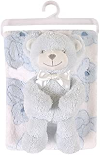 Stephan Baby Snuggle Fleece Crib Blanket and Plush Toy Set, Blue Bear