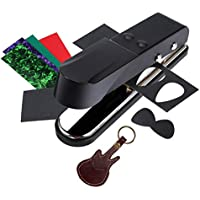 Asmuse Plectrum Pick Punch Maker Cortador Perforadora de Púa de Guitarra para Bajo Eléctrica Accesorios de DIY Herramientas con Cuero Tiras de Celuloide Premium y Papel de Lija de Plectro