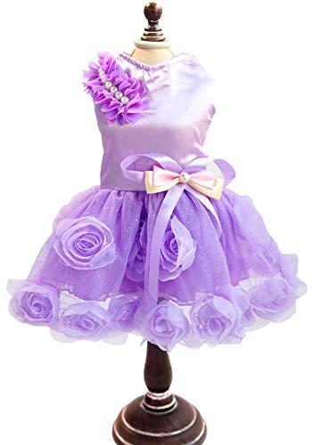 LLYU Pet puppy kat jas jas bruiloft kostuum satijn roos jurk rok, L, Paars