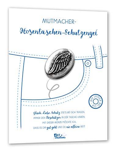ART + emotions Hosentaschen Schutzengel - Glücksbringer und Mutmacher - 925 versilberte Münze aus Metall - Geschenkidee Glück Münze Metall Silber Glück bringen personalisiert